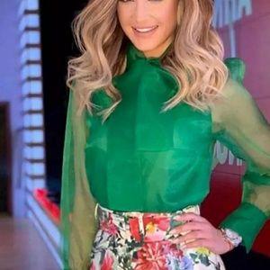 Zara green semisheer organza tie neck button top